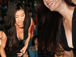 篠原涼子が美巨乳化したお乳をアンフェア舞台挨拶で見せつける