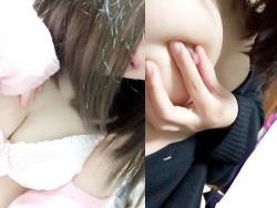 Twitterエロ垢で女子大生1年がJKコスプレでむっちり生おっぱい自撮り