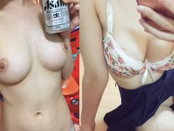 カネ融機関社内レディー22才がTwitter裏垢で形の整った美しい乳お乳をえろ自撮り