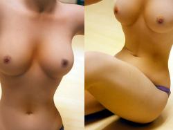抜群のくびれと美しい乳で上半身裸になった芸術的なぬーど自撮り