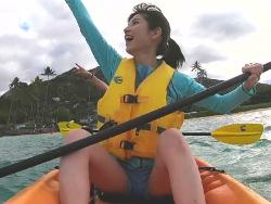 東大王で現役東大生の美少女鈴木光がカヌーでエロいM字開脚してハミ出しそう